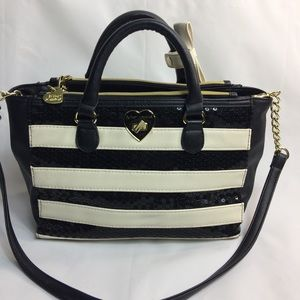 Betsey Johnson Sequin Striped Withe & Black Purse